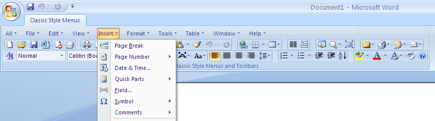 Click to view Classic Style Menus for Word screenshots